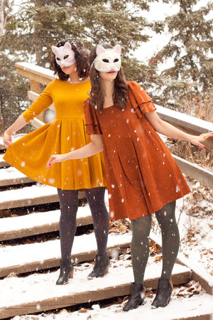 burnt orange halloween H&M dress - mustard halloween H&M dress