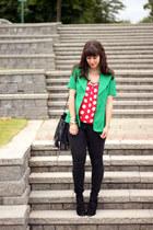 black Gap jeans - teal vintage blazer - black H&M bag - red gifted blouse - blac