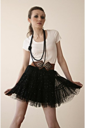 black Miss Selfridges skirt - white next shirt