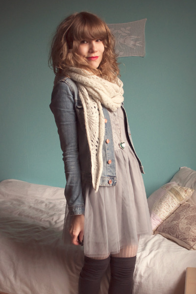white H&amp;M scarf - gray Dixi dress - blue H&amp;M jacket - beige Pimkie leggings