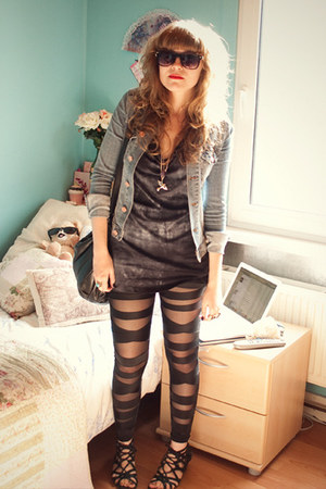 blue denim H&M jacket - black mesh leggings - blue asos top