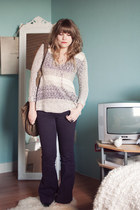 light brown suede H&M bag - purple flared River Island jeans - silver H&M ring