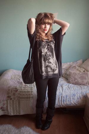 black allsaints boots - black coated allsaints jeans - black vintage bag