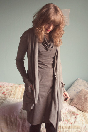 heather gray allsaints cardigan - black allsaints shoes - tan allsaints dress