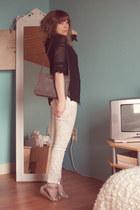 gray suede I Love Vintage bag - ivory floral cropped H&M jeans