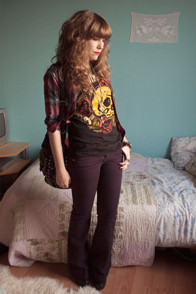 purple flared River Island jeans - black maera allsaints boots