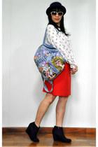 red Uniqlo skirt - blue Forever 21 boots - white owl-print Zara shirt