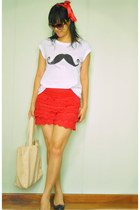 crochet shorts - bag - moustache print new look t-shirt - Payless wedges