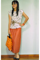 burnt orange skirt - carrot orange Issey Miyake bag - black Payless wedges