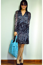blue Esprit dress - aquamarine Issey Miyake bag