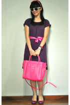 deep purple dress - hot pink Tocco Tenero bag - magenta Studio Tangs heels