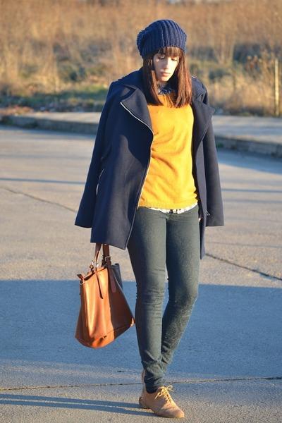 suiteblanco shoes - Shana coat - Zara jeans - pull&bear sweater