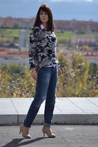 heather gray Zara sweater - pull&bear jeans