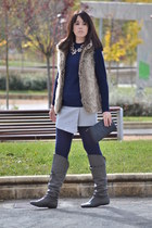 periwinkle Pimkie skirt - gray Coolway boots - navy Zara jumper