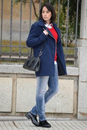 red PERSUNMALL sweater - black Zara shoes - navy Shana coat - black Mango bag