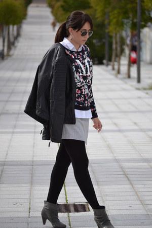leather Stradivarius jacket - Pimkie skirt - cotton Stradivarius sweatshirt