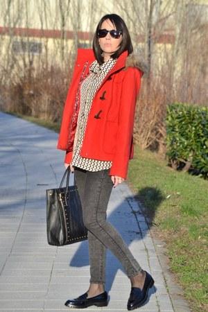 red Stradivarius coat - black Zara shoes - PERSUNMALL shirt