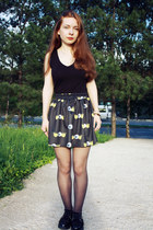 yellow romwe skirt - black H&M shirt - black wholesale flats