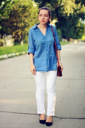 blue cotton Promod shirt - white denim bay jeans
