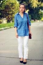 blue cotton Promod shirt - white denim bay jeans