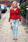 Sky-blue-sheinside-jeans-red-vintage-blouse