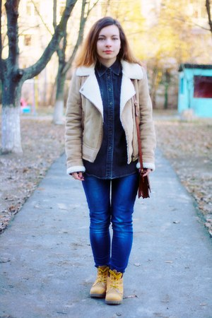 camel Bershka jacket - navy denim Ralph Lauren shirt - brown Maxwell Scott bag