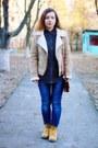 Camel-bershka-jacket-navy-denim-ralph-lauren-shirt-brown-maxwell-scott-bag