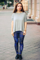 navy Born Pretty Store leggings - silver chicnova blouse