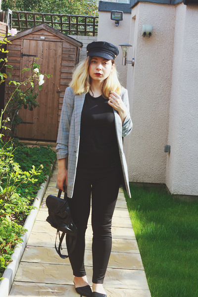 black asos hat - heather gray Miss Selfridge blazer