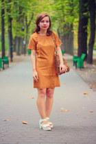 burnt orange suede Sheinside dress - carrot orange DressLink bag