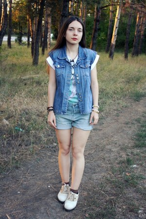 sky blue romwe shorts - sky blue denim DIY vest