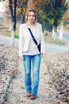 blue Naf Naf jeans - ivory H&M blouse - gold sammydress watch
