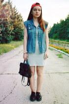 silver denim jennyfer dress - black leather Trift Store bag