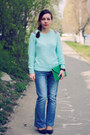 Turquoise-blue-fashion-union-sweater-dark-green-wholesale-dressnet-bag