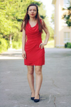 ruby red WalG dress - black Choies heels
