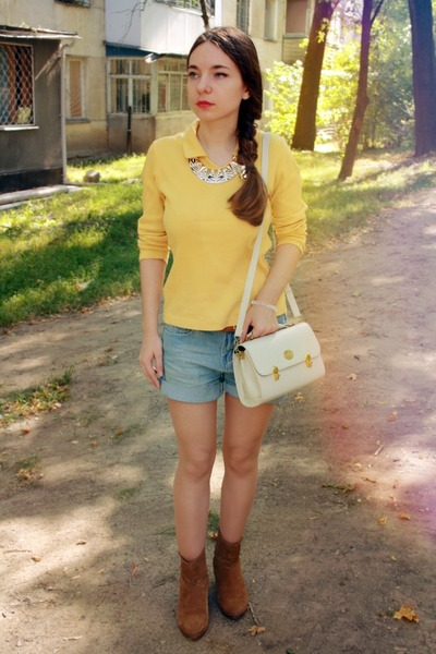 mustard cotton oliver blouse - brown Mango boots
