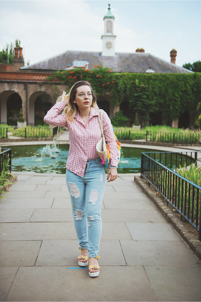 periwinkle Jeans jeans - pink cotton Yoins shirt - cream asos bag