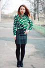 Green-choies-shirt-teal-kenzo-skirt-black-choies-heels