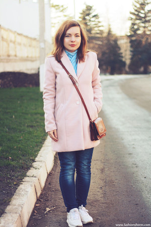 light pink LC Walkiki coat - brown Maxwell Scott bag - white Reebook sneakers