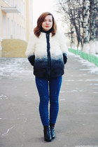 charcoal gray Sheinside coat - blue sammydress jeans