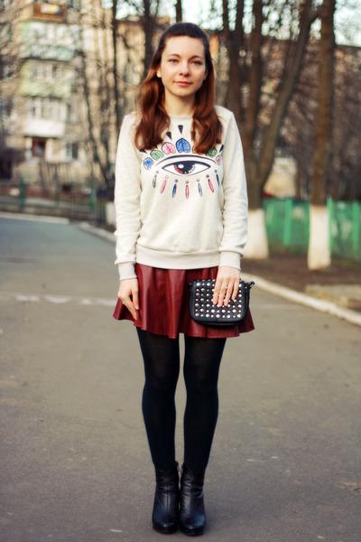 black Debenhams bag - brick red leather sammydress skirt
