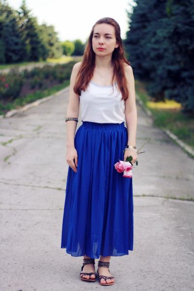 blue TB Dress skirt - white cotton Victorias Secret top