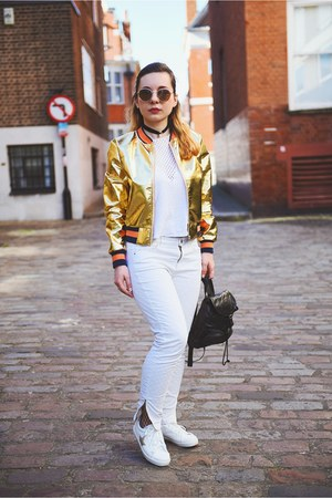 white Mango jeans - gold Light in the box jacket - white Zara top