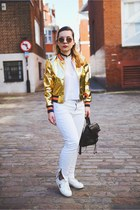 gold Light in the box jacket - white Mango jeans - white Zara top