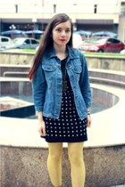 sky blue denim vintage jacket - black jennyfer dress