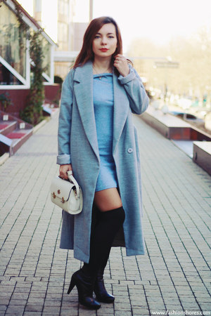 periwinkle DressLink dress - silver Sheinside coat - black DressLink socks