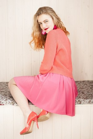orange Topshop sweater - hot pink oodji skirt - orange heels - ruby red earrings