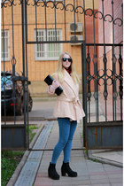 black reserved purse - peach kira plastinina coat - blue Topshop jeans