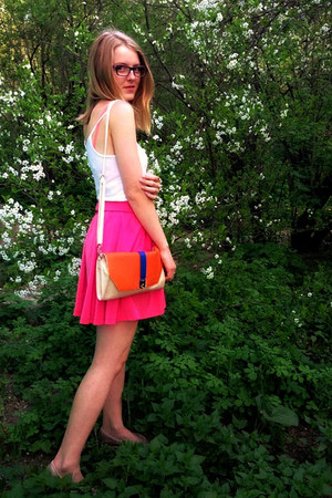 cream Concept club bag - hot pink oodji skirt - white Topshop top