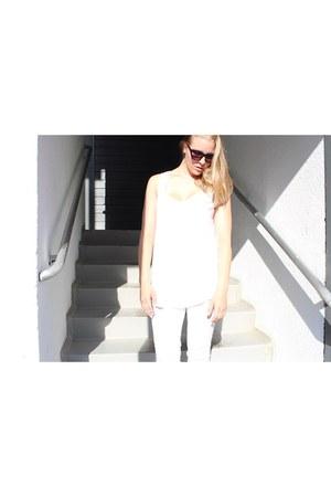white H&M top - white Zara panties